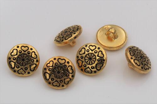 Oro brillante plástico botones metal óptica corazón Design blusenknöpfe 6 unid.
