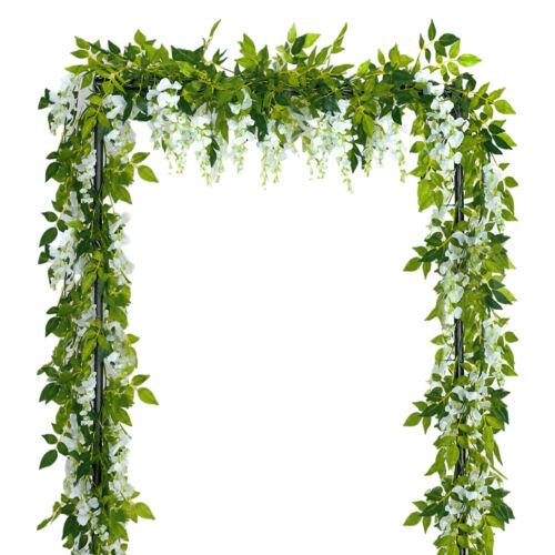 4pcs Artificial White Flowers Silk Wisteria Garland 2 Meters Home Garden Decor