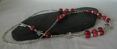 "Appena ""scarlett Butterfly"" Glass Beads Handmade Id Lanyard Badge Holder Una Gamma Completa Di Specifiche"