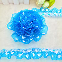New 5 yards 2-Layer 30mm Organza Lace Gathered Pleated Sequined Trim #X-23