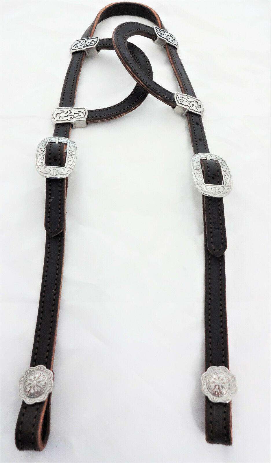 CIOCCOLATO CIOCCOLATO CIOCCOLATO fondente Briglia in pelle con doppio scivolo Ear Headsttutti JEREMIAH WATT Fibbie a63