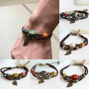 Fashion-Leaf-Beads-Leather-Adjustable-Bracelet-Handmade-Wristband-Bangle