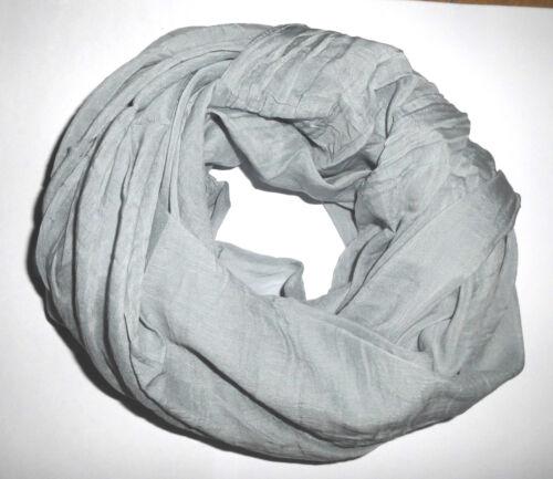 Damen Baumwolle Seide Tuch Schal Stola Loop Unifarbe jeansblau
