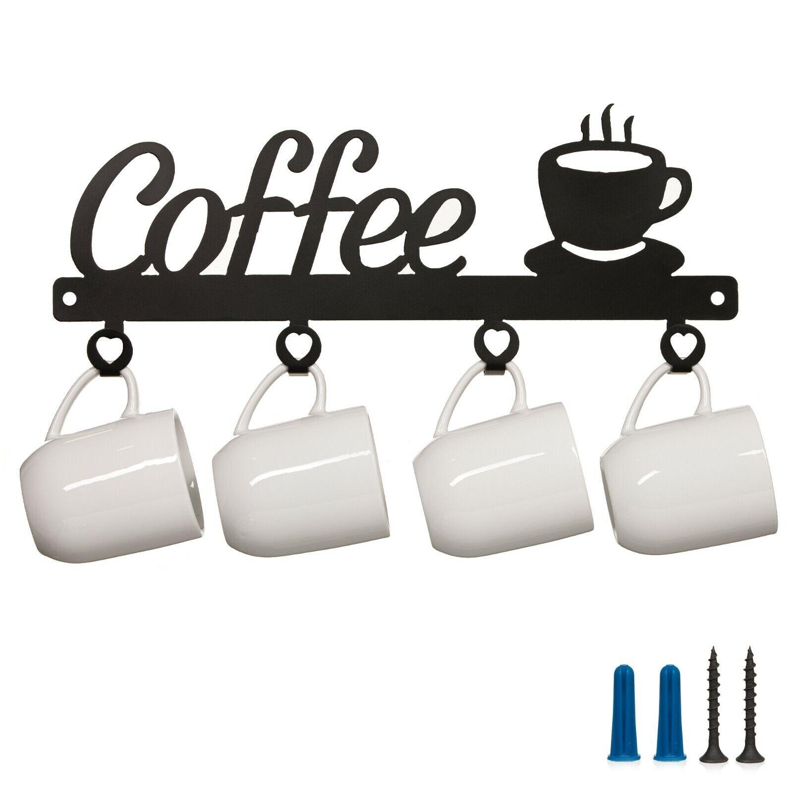Wall Mounted Metal Coffee Mug Holder Storage Rack Kitchen Cup Organizer Black For Sale Online Ebay