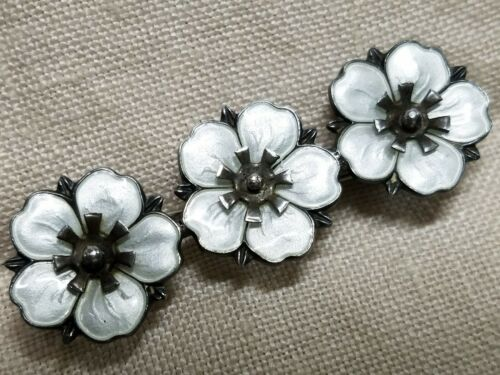 Norway Enamel Pansy or Dogwood Sterling 1940s Flow