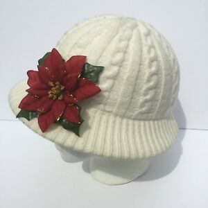 e8ebd9048ce2 Aris Off White Cable Knit Hat Vintage With Poinsettia Pin Attached ...