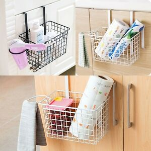 Image is loading Bathroom-Kitchen-Storage-Over-Door-Basket-Tray-Hanging- & Bathroom Kitchen Storage Over Door Basket Tray Hanging Cabinet ...