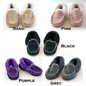 Genuine-Australian-Sheepskin-Lambskin-Ugg-Moccasins-Slippers-Mens-Womens-Ladies