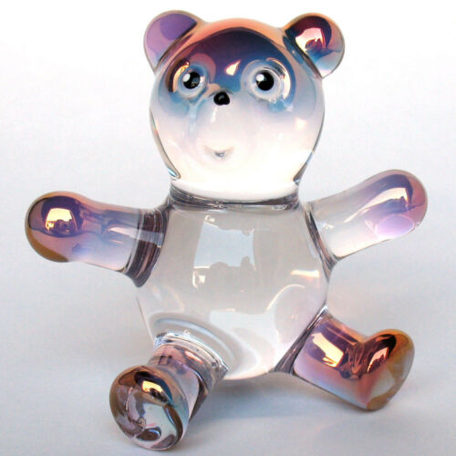 Teddy Bear Figurine Hand Blown Glass Crystal Sculpture