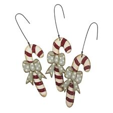 Country Primitive Wooden Frosted Candy Cane Ornies With Bows Set of 3