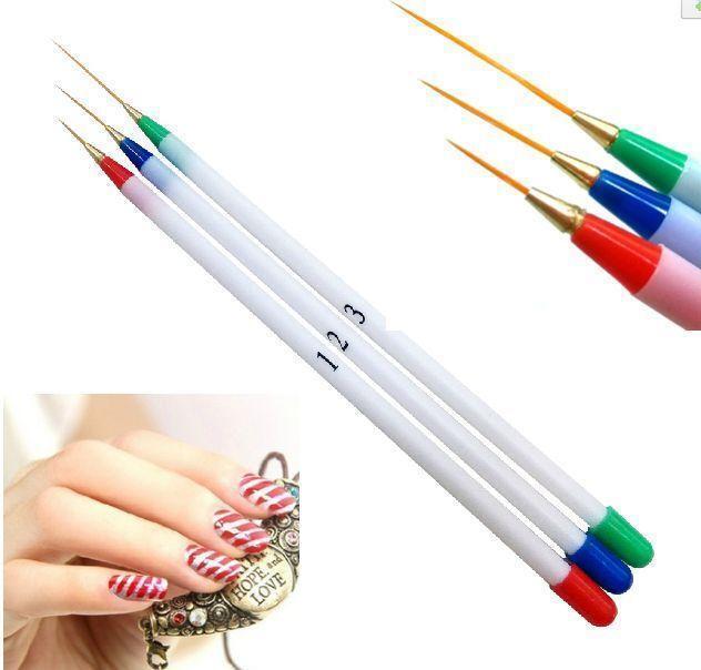 3pcs  Women Nail Art DIY Brush Acrylic Drawing Painting UV Gel Pen