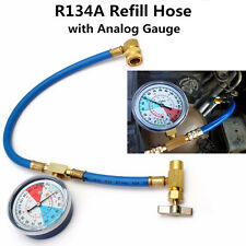 "Car A/C R134A Refill Hose Refrigerant Replenish Pipe flexible Tube 1/2"" w/ Gauge"