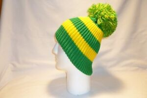 d8ea6e48537 luxury green and yellow striped bobble hat beanie fleece lined mens ...