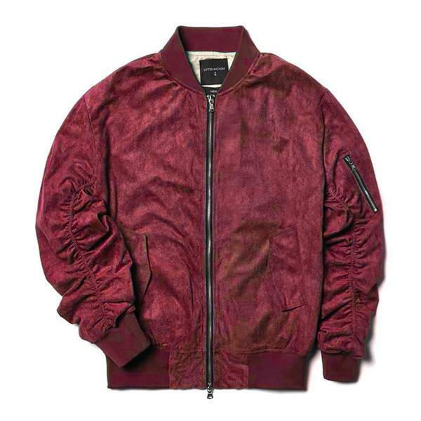 Brand New LIFTED ANCHORS lila Maroon Suede Bird Bomber jacke