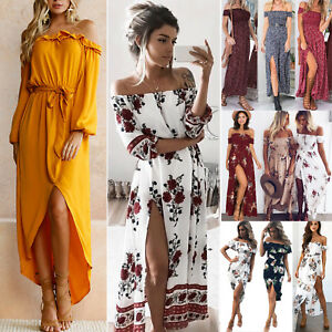 054a98959 Women Summer Boho Off Shoulder Long Maxi Dress Party Beach Floral ...