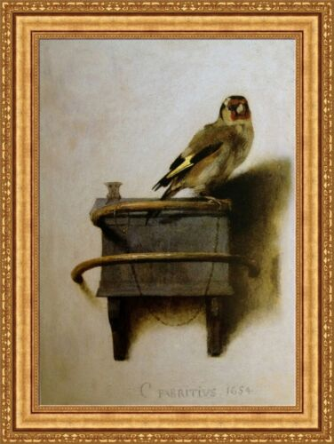 "Carel Fabritius The Goldfinch Framed Canvas Giclee Print 27/""x36.5/"" V14-10"
