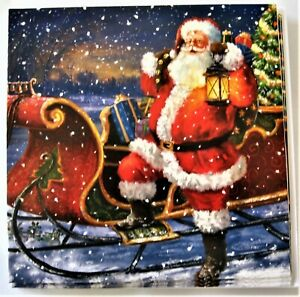 12 Christmas Cards Traditional Santa And Sleigh Design With Envelopes 5029551767625 Ebay