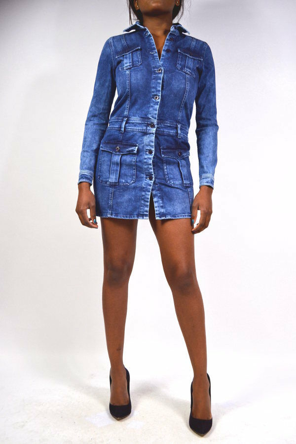 Sexy PEPE Jeans AMANDA Kleid Langarm Jeanskleid Größe L   XL Konfektion 40   42