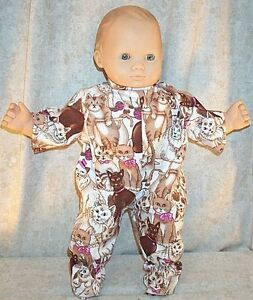 Doll-Clothes-Baby-Made-2-Fit-American-Girl-15-Inch-Boy-Twin-Pajamas-Cat-Pink
