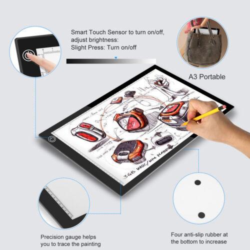 LED Tracing Light Box Board Art Tattoo A3//A4 Drawing Pad Table Stencil Display