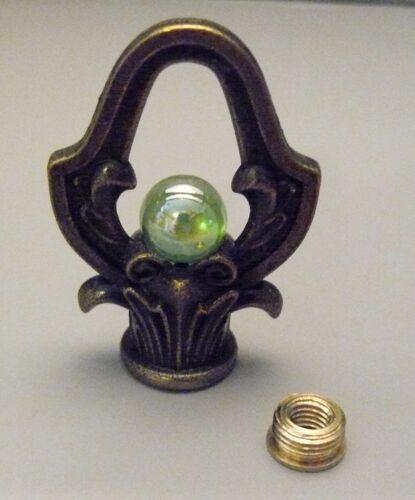 """Green Pee Wee Marble 3//8/"""" Dia Lamp or Clock Crown Loop Finial 1//8/"""" IPS"""