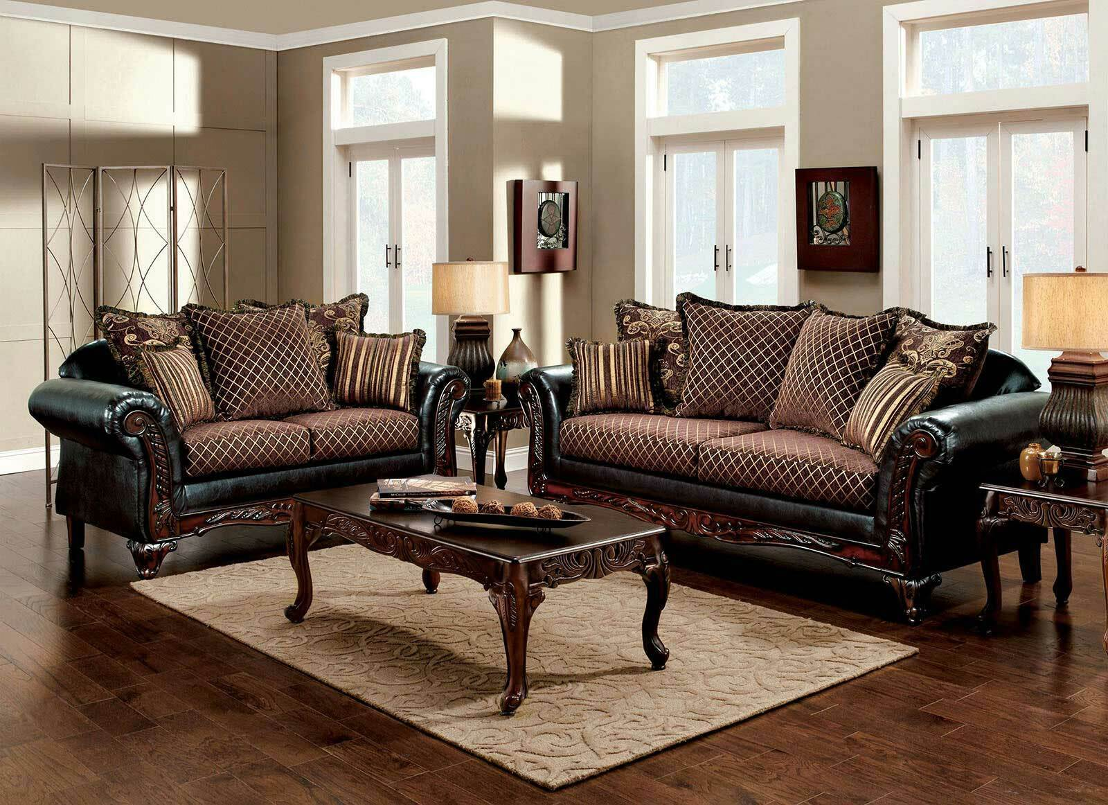 Old World Style Living Room Furniture Wood Trim Brown Fabric Sofa Couch Set  IGDG