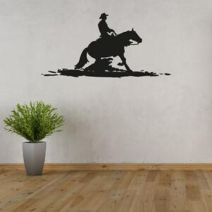 Wandtattoo-Cowboy-amp-Pferd-Silhouette-Schatten-Reiter-Aufkleber-Wand-Tattoo-2140