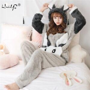 70753672ec Image is loading Winter-Women-Thick-Flannel-Pajamas-Set-Warm-Sleepwear-