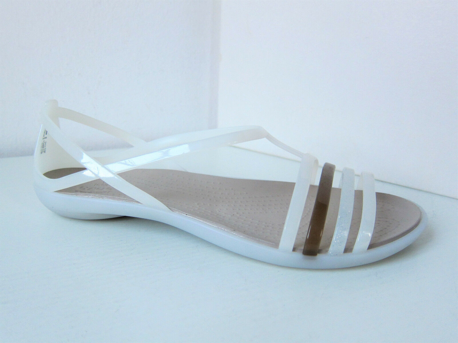 Crocs huarache isabella sandals white brown 38 39 W 8 shoes sandale oyster walnut