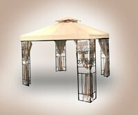 Two Tiered Replacement 10'x10' Canopy Top Patio Gazebo Cover Beige