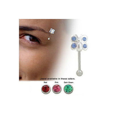 Sterling Silver Butterfly Eyebrow Ring with Jewels