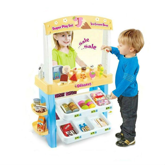 Kinder eis einkaufen im supermarkt spielzeug playset kasse & scanner
