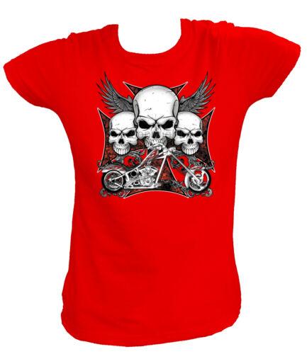 Damen T-Shirt 16195 3 SKULLS IRON CROSS CHOPPER Motorad Motorcycle  Hod Rot