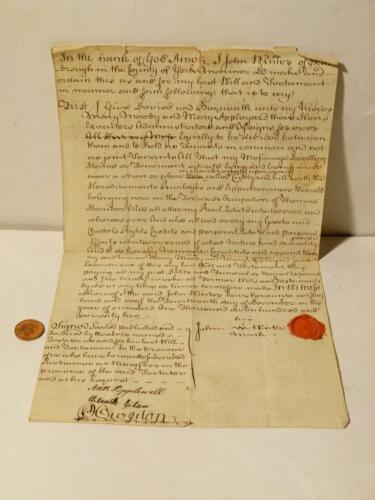 1772 John Winter Mariner Scarborough Legal Sealed Last WILL Family History #A15