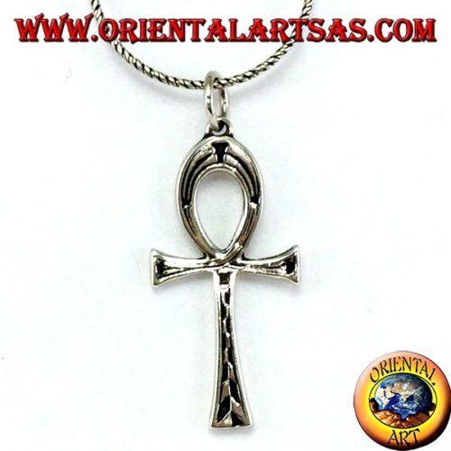 Ciondolo In Argento 925 ‰ croce egizia ankh chiave della vita intarsiata bifacci