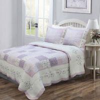 Beautiful Purple White Lilac Lavender Green Flower Patchwork Floral Quilt Set
