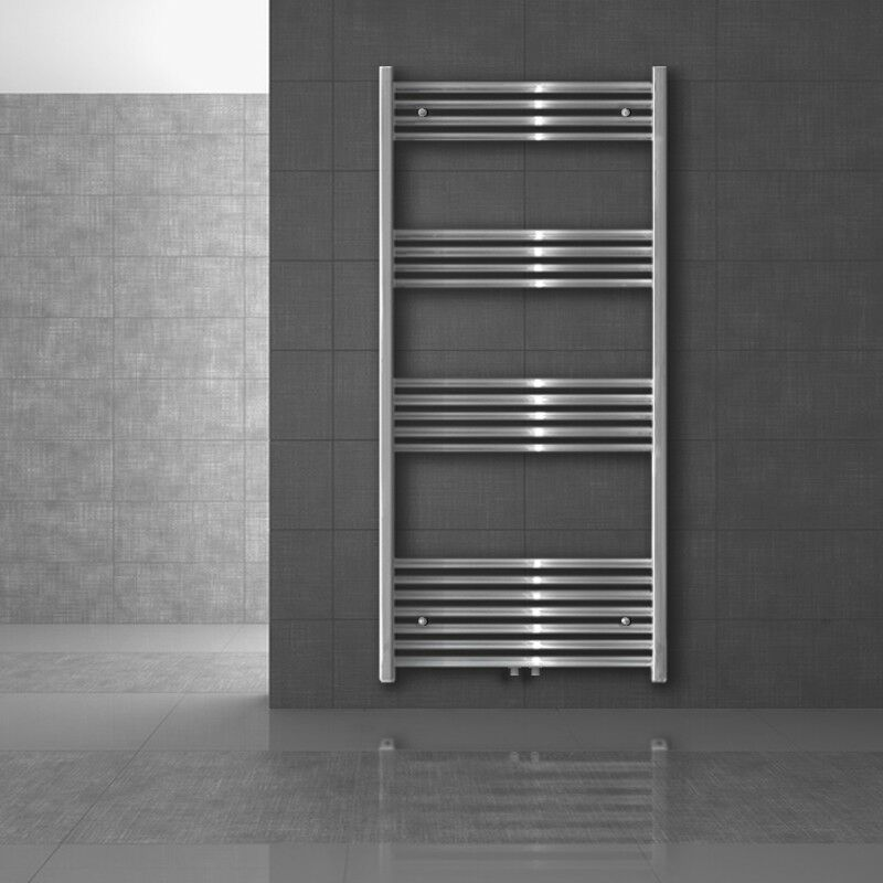 Radiateurs sèche-serviettes couleur chrome droit courbé salle de bains chauffe