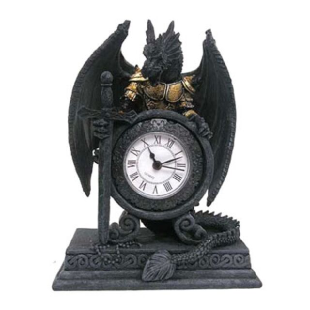 Gothic Armoured Dragon Mantle Table Shelf Clock Fantasy Funky Home Decor Gift