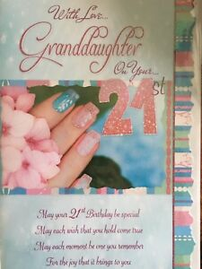 Image Is Loading Granddaughter 21st Birthday Card Loving Words