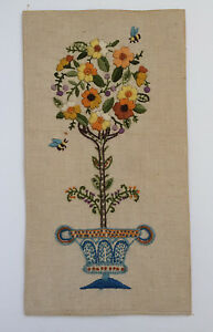 VTG-Completed-Crewel-Embroidery-Flower-Topiary-Floral-Urn-Bees-1968-Signed