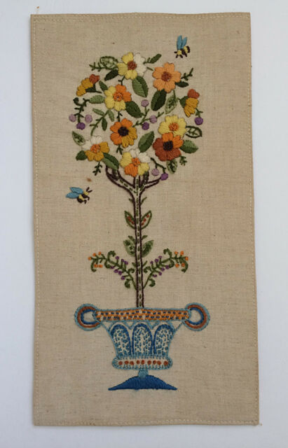 VTG Completed Crewel Embroidery Flower Topiary Floral Urn Bees 1968 Signed