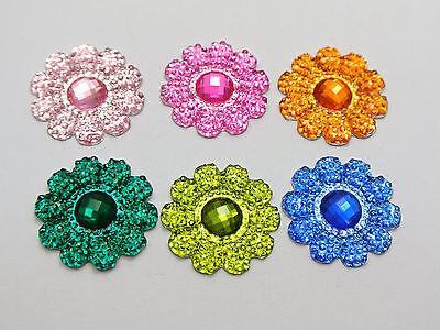 50 Mixed Color Acrylic Flatback Dotted Sunflower Rhinestone Gems 22mm No Hole