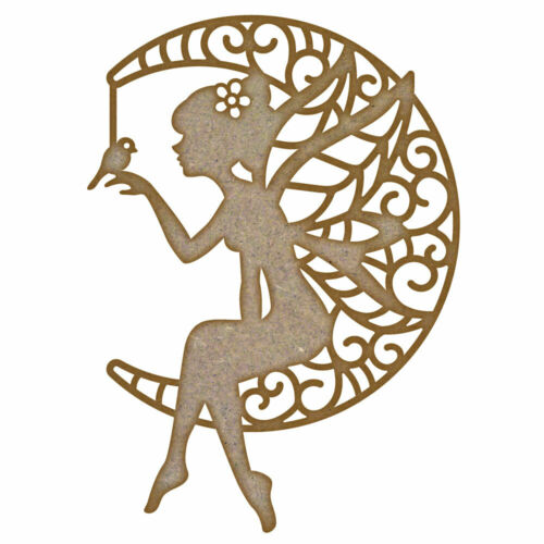 Fairy holding a bird on a Moon MDF Laser Cut Craft Blanks in Various Sizes