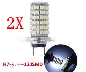 2-Lampara-Bombillas-H7-120-LED-3528-SMD-Luz-Blanca-Pura-Coche-DC-12V-calida