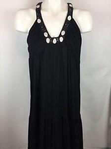 ABS-by-Allen-Schwartz-Womens-Sz-L-Beaded-Sleeveless-Maxi-Dress-Polyester