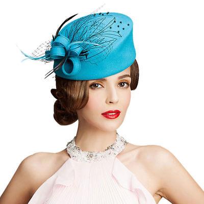 A140 Womens Wool Felt Dress Hat Beret Pillbox Hats Event Church Tea Party