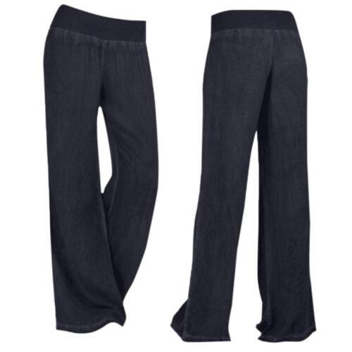 Femmes taille haute élasticité Denim Loose Large Jambe Palazzo Pantalon Jeans Pantalon