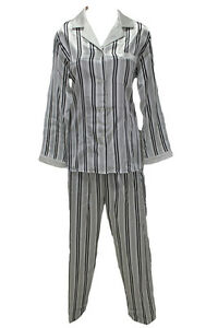 Details about M28544 New Miss Elaine Black White Stripe Brushed Back Satin  Pajamas Set dcb21c78e