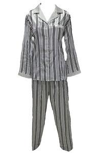 M28544-New-Miss-Elaine-Black-White-Stripe-Brushed-Back-Satin-Pajamas-Set