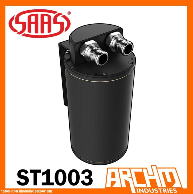 SAAS Oil Catch Can Tank 500cc Black Performance Baffled Hose Fittings 4WD Diesel